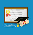 cute diploma of graduation to education study vector image