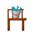 fishing bucket with wooden pier vector image vector image