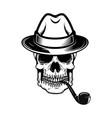 gentleman skull with smoking pipe design element vector image