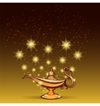 Gold glitters and aladdin lamp vector image vector image