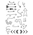 hand drawn arows set vector image vector image