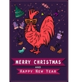 Hand drawn free style sketch of rooster on red vector image vector image