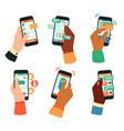 hands holding smartphones social networking vector image vector image
