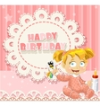 Happy Birthday my little princess - baby girl vector image vector image