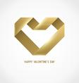 Heart Ribbon Origami Logo Design Template vector image vector image
