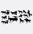 horse transportation silbhouette vector image vector image