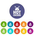 hot chicken icons set color vector image