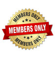 members only 3d gold badge with red ribbon vector image vector image