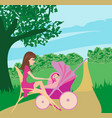 mother and daughter in the park vector image