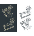 motorcycle engine part drawings vector image