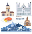 norway set collection with salmon architecture vector image vector image