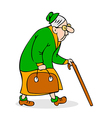 Old woman with cane and a bag vector image vector image