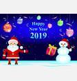santa claus and snowman vector image vector image