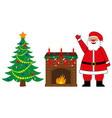 santa claus fireplace and christmas tree vector image