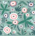 seamless pattern with flowers leaves creative vector image