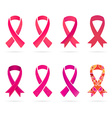 Set of Pink and Red Ribbons of Breast Cancer in vector image