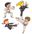 Simple sketch of people engaging in martial arts vector image