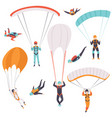 skydiving men falling through the air with vector image