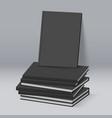 stack of blank black books business mockup vector image vector image
