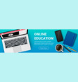 top view education workplace horizontal vector image