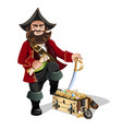treasure chest and pirate vector image vector image