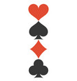 vertical four playing cards suits symbols vector image vector image