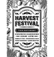Vintage Harvest Festival Poster Black And White vector image vector image