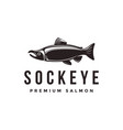 vintage sockeye salmon fish logo icon template vector image