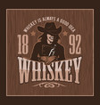 vintage whiskey label with girl - t-shirt graphic vector image vector image