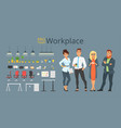 workplace elements and characters vector image vector image