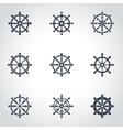 black rudder icon set vector image