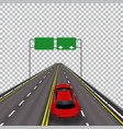 high-speed highway in perspective red car vector image