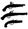 Historical matchlock pistols vector image