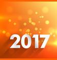 2017 happy new year wallpaper in orange background vector image vector image