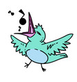 bird singing hand drawn cartoon vector image