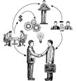business cooperation concept hand drawn vector image