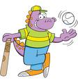 Cartoon dinosaur with baseball bat and baseball vector image vector image