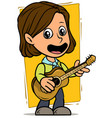 cartoon girl character with wooden acoustic guitar vector image vector image