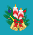 christmas composition candle balls branches vector image