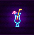 cocktail with umbrella neon sign vector image