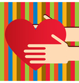 Colorful hands with heart vector image vector image