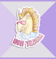 cute unicorn sticker unicorn with pink glasses vector image vector image