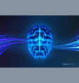 cyber mind or artificial intelligence brain vector image