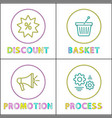 discount and basket posters vector image vector image