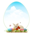 Easter bunny and colored eggs Easter card vector image