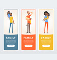 family banners set parents with their children vector image vector image