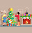 family decorating christmas new year tree winter vector image