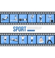 film strips and training people icons set vector image vector image