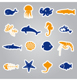 fish and sea life stickers set eps10 vector image vector image