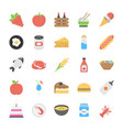 flat foods item flat icons vector image